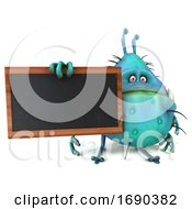 3d Turquoise Germ Virus On A White Background