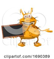 3d Yellow Germ Virus On A White Background