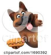 Poster, Art Print Of 3d German Shepherd Dog On A White Background