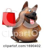 Poster, Art Print Of 3d German Shepherd Dog On A White Background