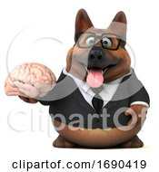 Poster, Art Print Of 3d Business German Shepherd Dog On A White Background