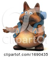 Poster, Art Print Of 3d German Shepherd Dog Hiker On A White Background
