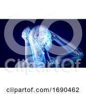 Human And Brain Xray On A Blue Background