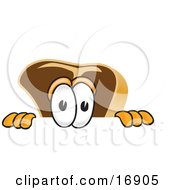 Clipart Picture Of A Meat Beef Steak Mascot Cartoon Character Peeking Over A Surface