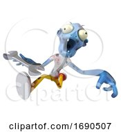 Poster, Art Print Of 3d Blue Zombie On A White Background