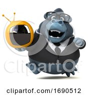 3d Business Gorilla On A White Background