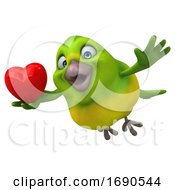 Poster, Art Print Of 3d Green Bird On A White Background