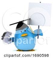 3d Chubby Blue Bird Graduate On A White Background