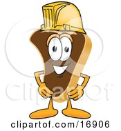 Meat Beef Steak Mascot Cartoon Character Wearing A Yellow Hardhat