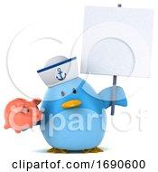 3d Chubby Blue Bird Sailor On A White Background