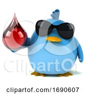 3d Chubby Bluebird On A White Background
