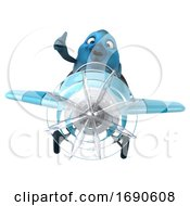 Poster, Art Print Of 3d Blue Bird Flying A Plane On A White Background