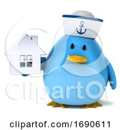 Poster, Art Print Of 3d Chubby Blue Bird Sailor On A White Background
