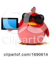 3d Chubby Red Bird On A White Background