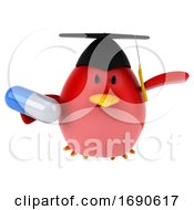 3d Chubby Red Bird Graduate On A White Background