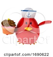 Poster, Art Print Of 3d Chubby Red Bird Sailor On A White Background