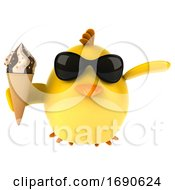 Poster, Art Print Of 3d Yellow Bird On A White Background
