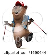 3d Brown Business Hiker On A White Background