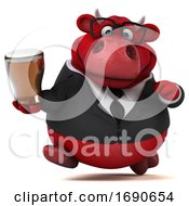 Poster, Art Print Of 3d Red Business Bull Holding A Beer On A White Background