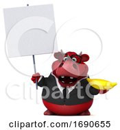 Poster, Art Print Of 3d Red Business Bull Holding A Banana On A White Background