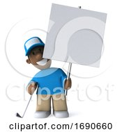 3d Black Male Golfer On A White Background