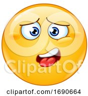 Poster, Art Print Of Yellow Smiley Emoji With A Drained Expression