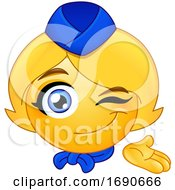Poster, Art Print Of Yellow Smiley Emoji Stewardess Presenting