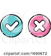 Poster, Art Print Of Icons Of Green Tick And Red Cross Checkmarks