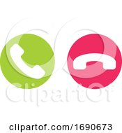 Icon Or Button Of Green And Red Handset Call Or Hang Up