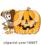 Meat Beef Steak Mascot Cartoon Character Standing By A Halloween Pumpkin