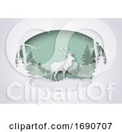 Silhouetted Deer In A Winter Oval On Shaded White