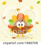 Cartoon Colorful Turkey Bird With Autumn Leaves