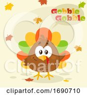Poster, Art Print Of Cartoon Colorful Turkey Bird With Autumn Leaves