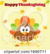 Happy Thanksgiving Greeting Over A Colorful Turkey Bird With Autumn Leaves