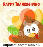 Poster, Art Print Of Happy Thanksgiving Greeting Over A Colorful Turkey Bird Peeking