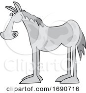 Cartoon Gray Horse In Profile