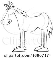 Cartoon Black And White Horse In Profile