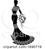 Poster, Art Print Of Wedding Bride Silhouette Bouquet