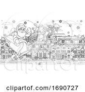 Santa Claus Christmas Street Scene Coloring Page