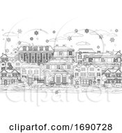 Christmas Snow Houses Coloring Outline Scene