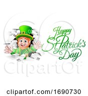 Leprechaun And Happy St Patricks Day Greeting