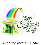 Happy St Patricks Day Greeting With A Hat Of Gold At The End Of The Rainbow