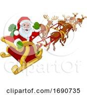 Santa Claus Flying Christmas Sleigh And Reindeer