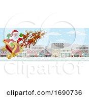 Santa Claus Sleigh Christmas Street Snow Scene