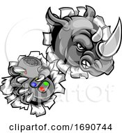 Rhino Gamer Holding Controller Mascot by AtStockIllustration