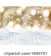3D Christmas Snow On A Gold Bokeh Lights Background
