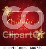 Christmas Background With Decorative Text And Glitter Snowflakes