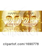 Happy New Year Background With Decorative Gold Numbers