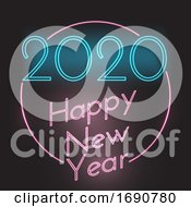 Happy New Year Neon Style Background