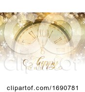 Gold Happy New Year With Clock Design